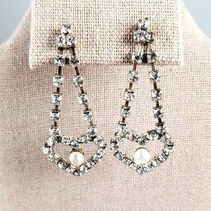 Vintage Rhinestone & Faux Pearl Drop Post Earrings